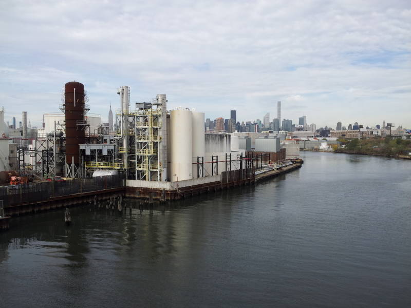 Newtown Creek, dividing Brooklyn from Queens.