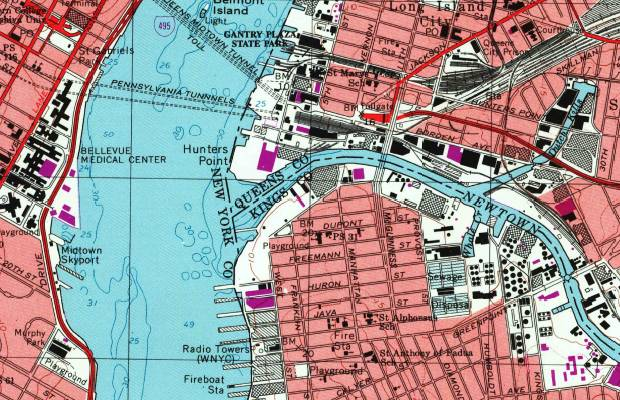 Map showing the Newtown Creek Waste Water Treatment Plant, Brooklyn, Queens, Manhattan, and the East River.