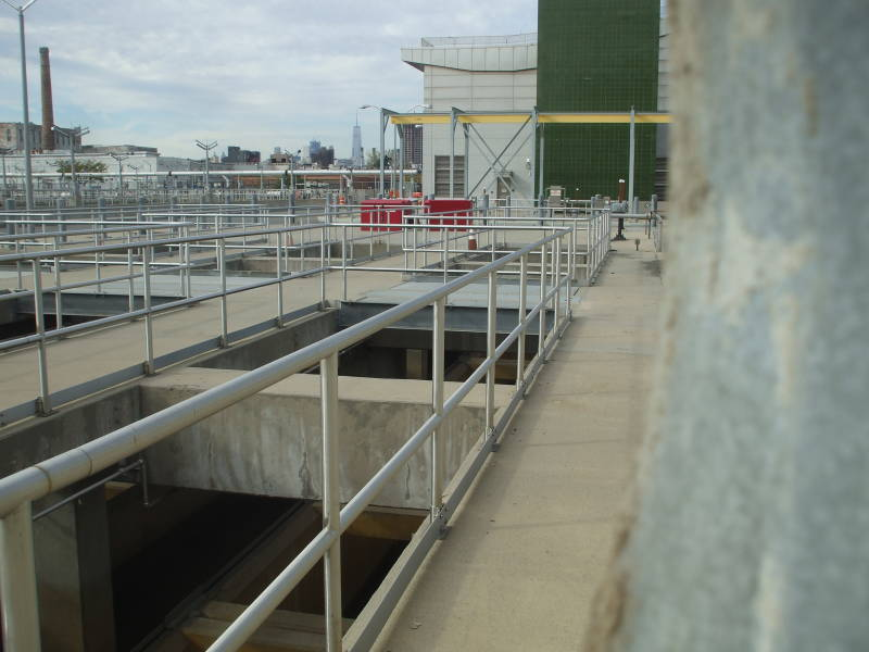 Aeration and sedimentation tanks at the Newtown Creek Wastewater Treatment Plant.