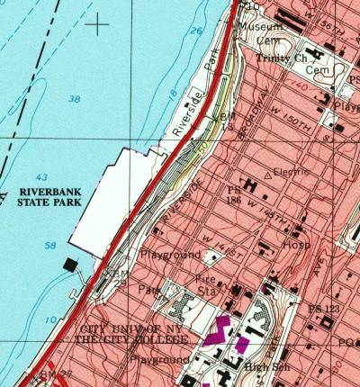 Map of northwestern Manhattan showing the Hudson River, the West Side Highway, the Amtrak lines, and the Riverbank State Park over the North River State Park.