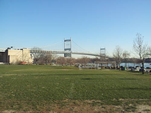 Robert F Kennedy Bridge crossing Hell Gate from Randall and Wards Island to Queens.