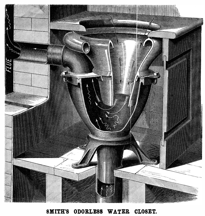 1875 design for an odorless toilet.
