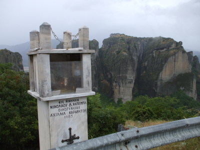 Roadside Greek Orthodox shrine in Meteora, Greece.