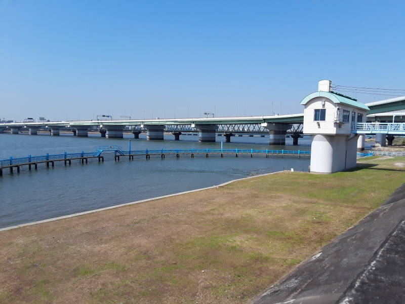 Protected discharge point into the Yodo river at Ebie Sewage Treatment Plant in Osaka.