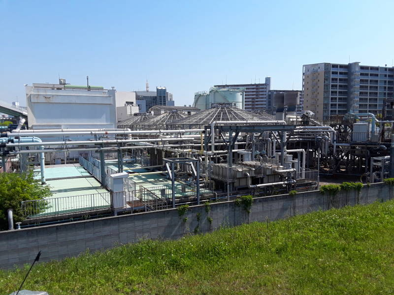 Covered digester tanks at Ebie Sewage Treatment Plant in Osaka.