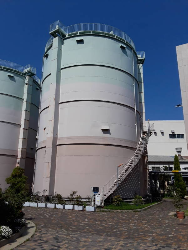 Tall tanks at Ebie Sewage Treatment Plant in Osaka.