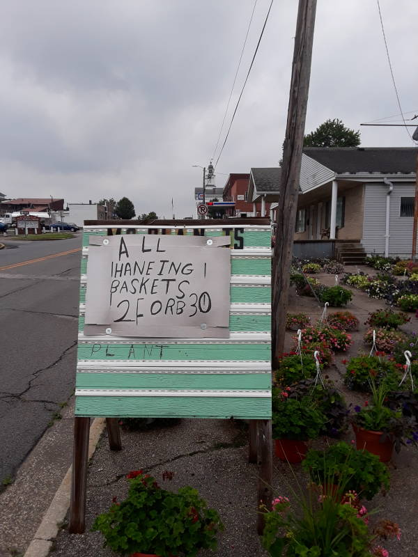 Illiterate sign at an unsuccessful businesses in southern Indiana.