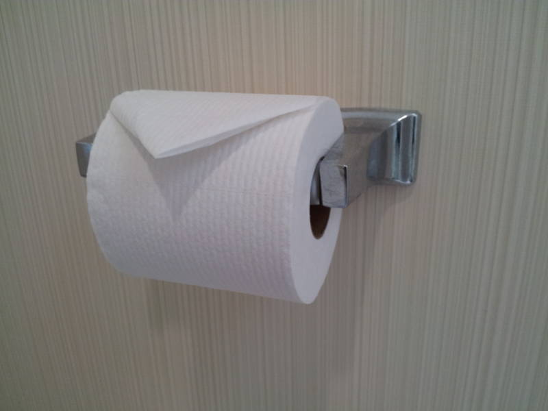 Toilegami or folded toilet paper at the Residence Inn hotel in Herndon, Virginia.