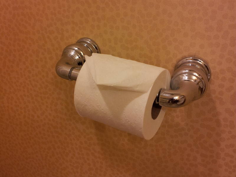 Toilegami or folded toilet paper at the Hilton hotel in Rockville, Maryland.