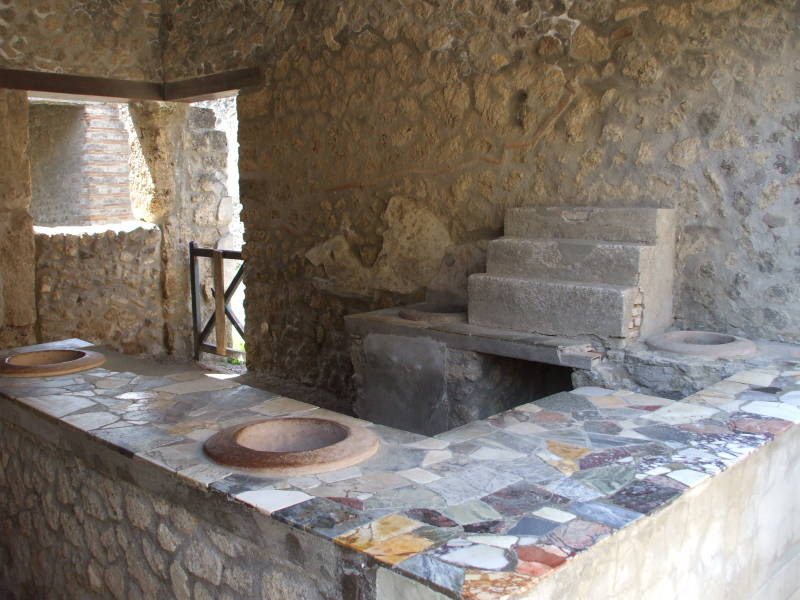Olive oil shop or tavern at Pompeii.