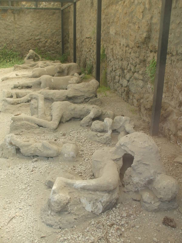 Plaster casts of victims at Pompeii.