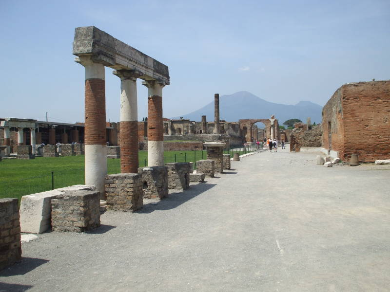 View of Mount Vesuvius from Pompeii.