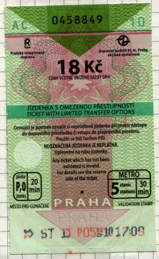Metro ticket in Prague, Czech Republic.