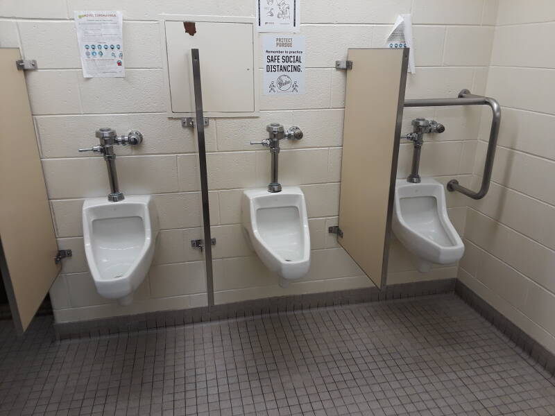 Bad urinals in Purdue's Hicks Undergraduate Research Library.