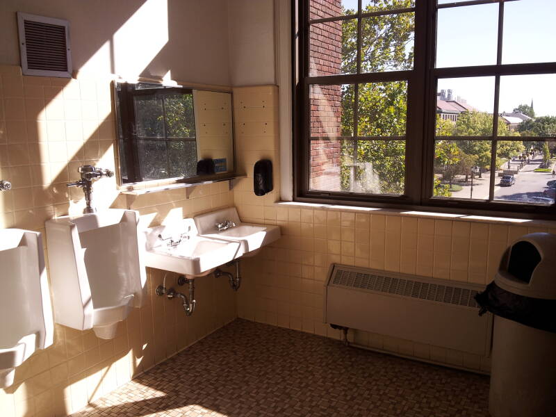 Urinals and sinks in room 304 of the Recitation Building at Purdue University