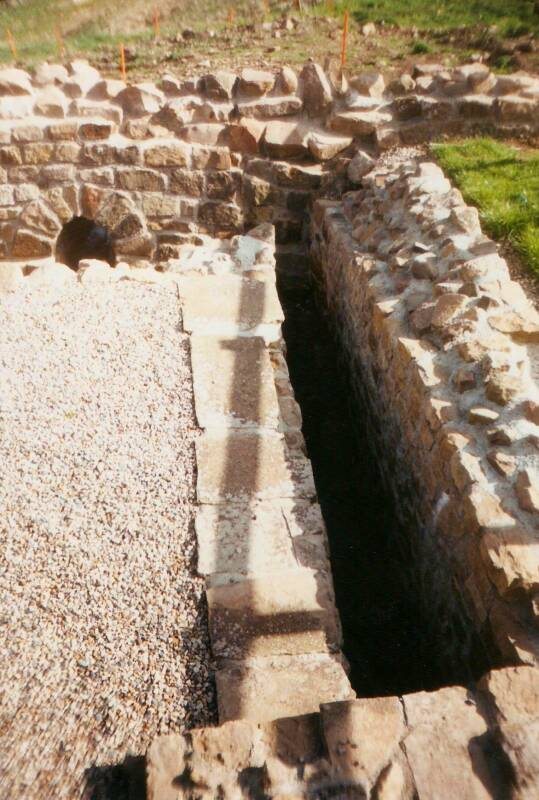 Roman toilets at a military garrison near Hadrian's Wall.