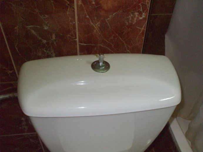 Pneumatic pushbutton toilet flushing system in Bucharest, Romania.