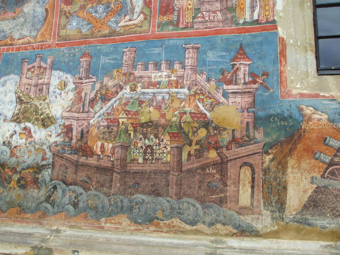 The Seige of Constantinople, a fresco on one of the Painted Churches at Moldoviţa Monastery, just outside the small town of Vatra Moldoviţei, Romania.