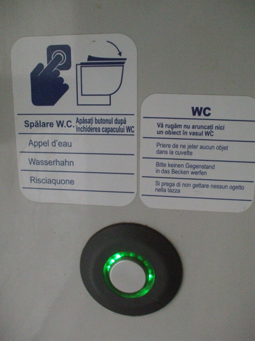 Toilet flush button and instructions in Romanian, French, German, and Italian, in the washroom on board a Romanian train from Bucharest to Suceava.