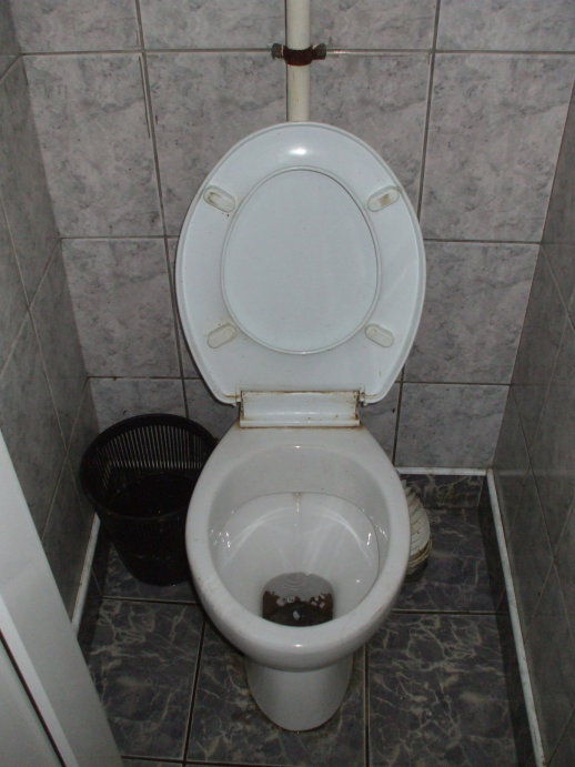 Toilet at the train station in Suceava, Romania.