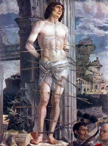 Saint Sebastian, by Andrea Mantegna, 1480, Musée du Louvre, Paris, from https://en.wikipedia.org/wiki/File:Sebastia.jpg