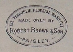 19th century Scottish porcelain toilet labeled 'The Ferguslie Pedestal Wash-Out Made Only By Robert Brown and Son, Paisley'.