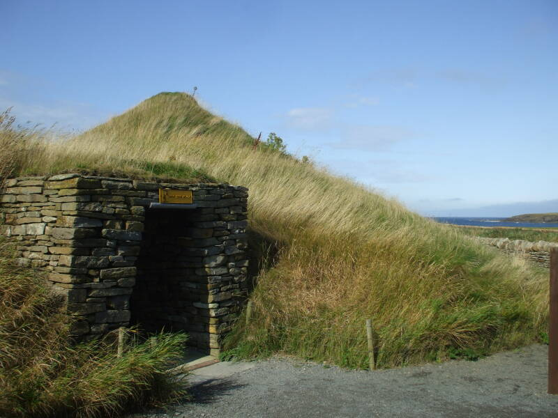 Reconstructed House 7 of Skara Brae Neolithic settlement beside the Bay of Skaill in the Orkney Islands.