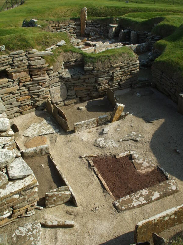 House 4 of Skara Brae Neolithic settlement beside the Bay of Skaill in the Orkney Islands.