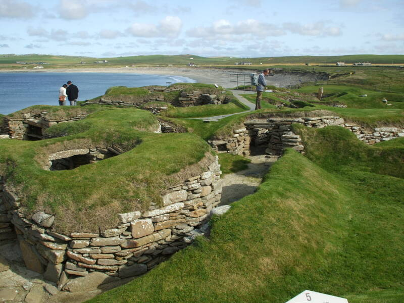 Overview of Skara Brae Neolithic settlement beside the Bay of Skaill in the Orkney Islands.