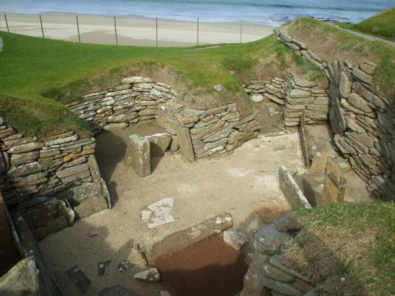 House 2 of Skara Brae Neolithic settlement beside the Bay of Skaill in the Orkney Islands.