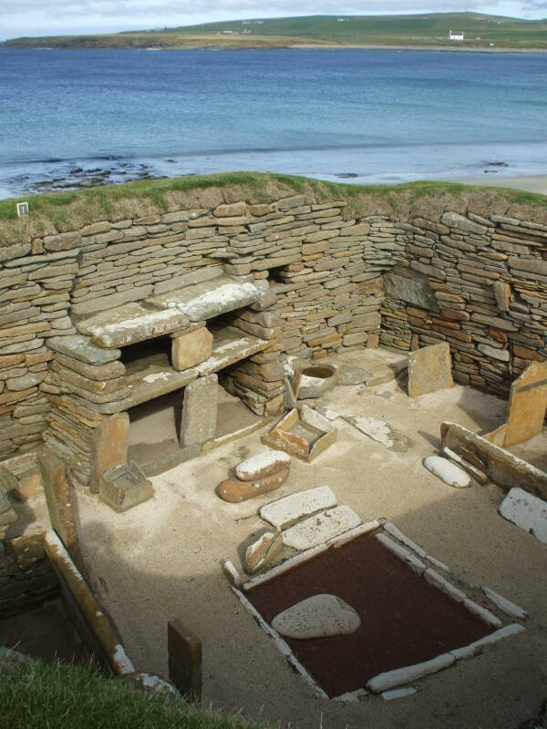 House 1 of Skara Brae Neolithic settlement beside the Bay of Skaill in the Orkney Islands.