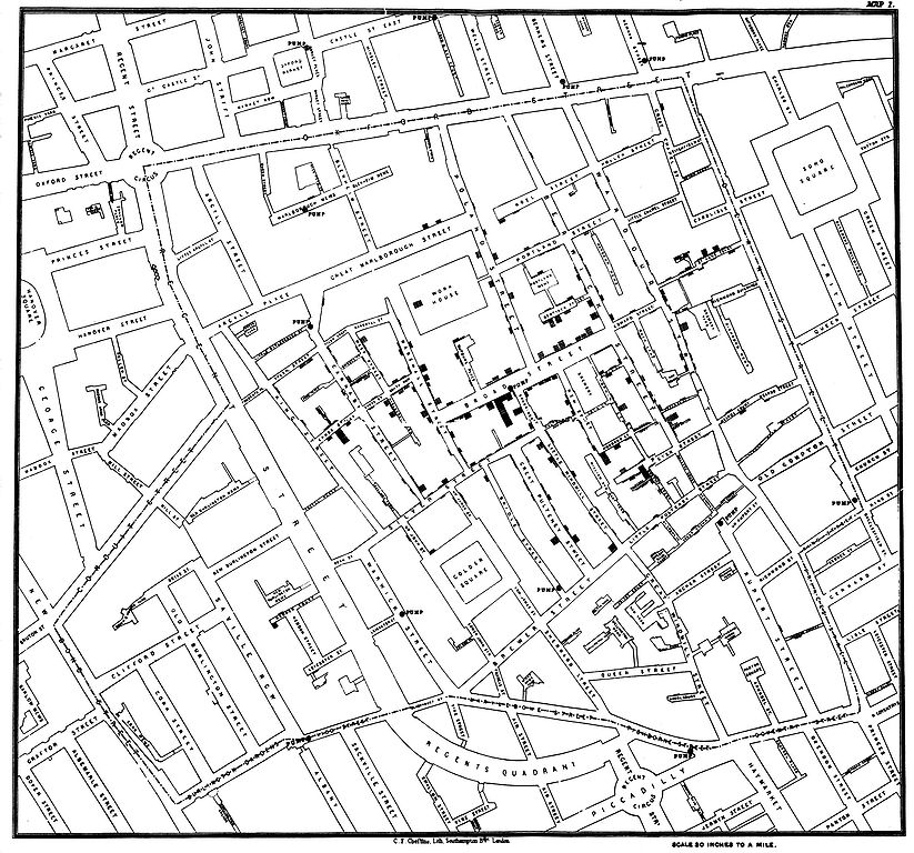 John Snow's cholera map from https://en.wikipedia.org/wiki/File:Snow-cholera-map-1.jpg