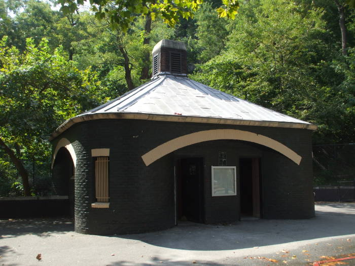 Public toilet building at Jackie Robinson Park in Harlem.