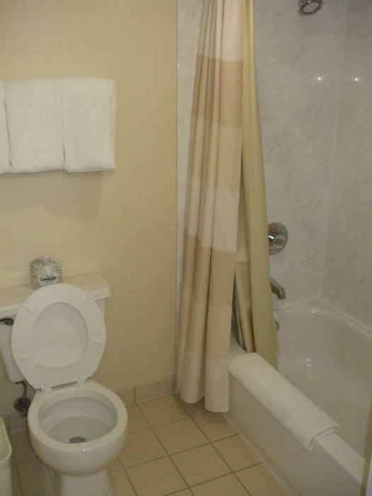 Hotel toilet and tub.