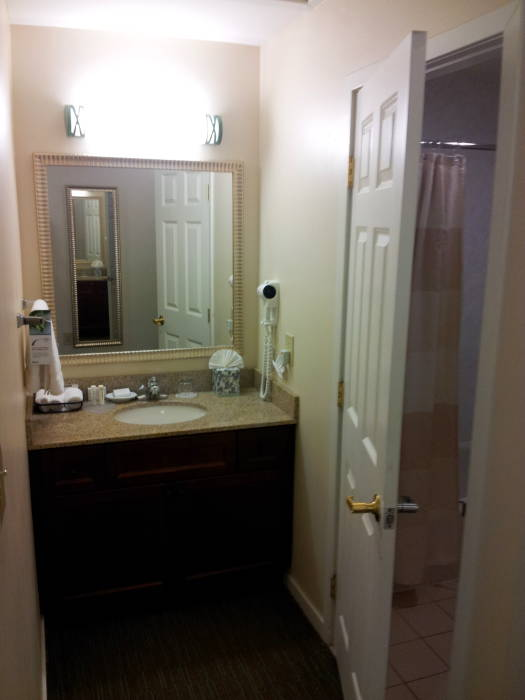Hotel suite: sink and door to bathroom.