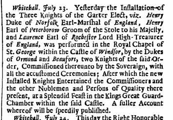 London Gazette, 23 July 1685, page 1.