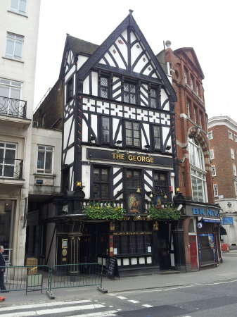 Exterior of The George Pub in London.