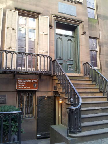 Exterior of Theodore Roosevelt's childhood home at 28 East 20th Street in New York.