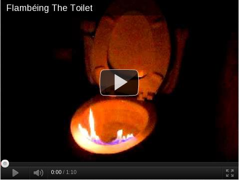 KILL IT WITH FIRE!  Flambéing a toilet for extra cleanliness.