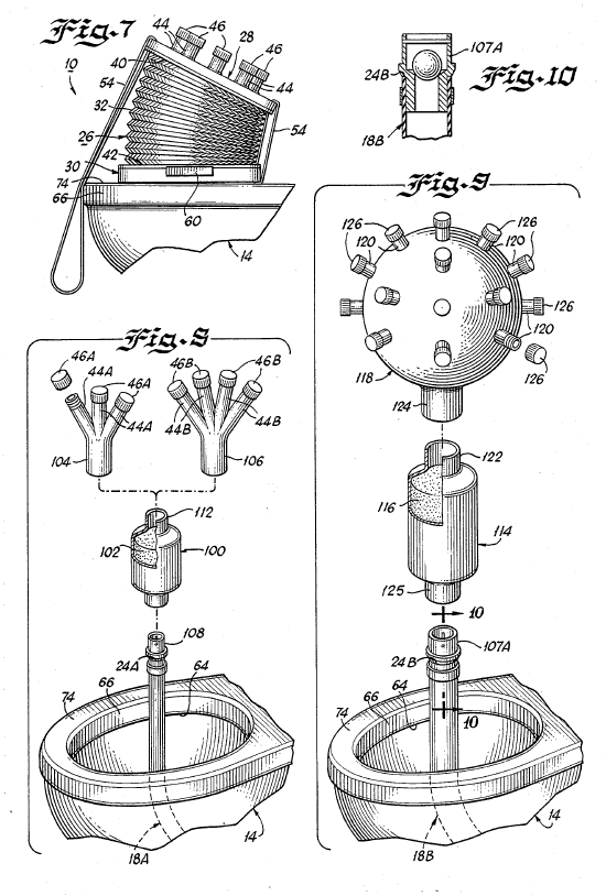 Cross-section diagram of a complicated toilet snorkel with a large bellows on the toilet bowl.