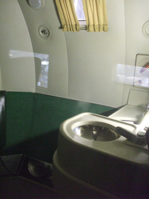 Harry S Truman's washbasin and lavatory on board his airplane.
