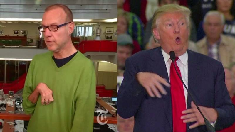 Trump mocking the disabled.