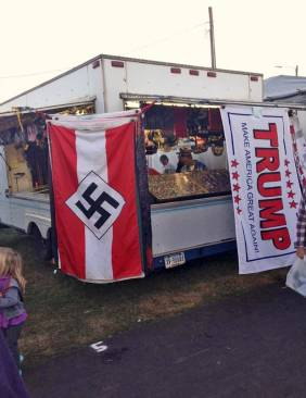 Vendor selling goods for Trump supporters.
