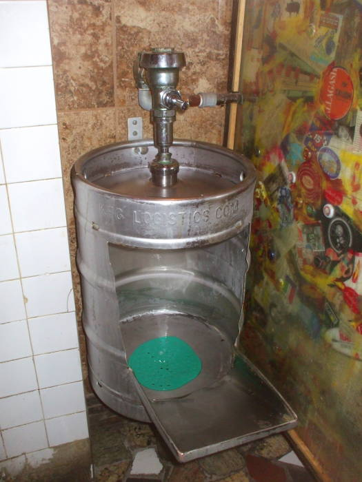 A urikeginal, a urinal made from a beer keg.