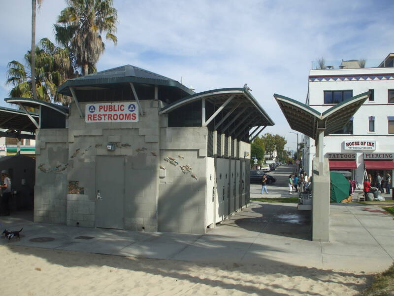 Public toilet at Venice Beach, southern California.