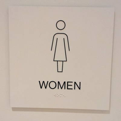 Women's bathroom sign at the Whitney Museum in New York.