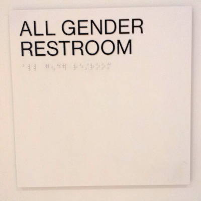 All-gender bathroom sign at the Whitney Museum in New York.